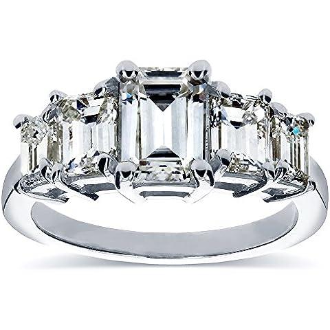 Art Deco, taglio a smeraldo e diamanti da Moissanite cinque Anello di fidanzamento (ctw) 21/3 CT, in oro 14 K, colore: bianco