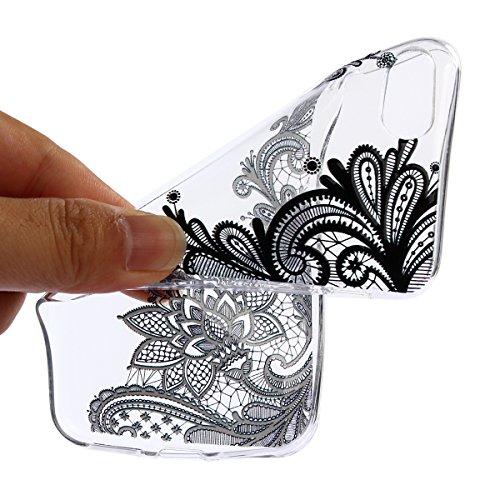 Coque iPhone 7, Étui iPhone 7, Surakey Etui Housse Mince Silicone Transparent pour iPhone 7 Coque de Protection en TPU avec Absorption de Choc Bumper et Anti-Scratch avec dessin animé Motif Etui de Pr Noir Mandala Fleur