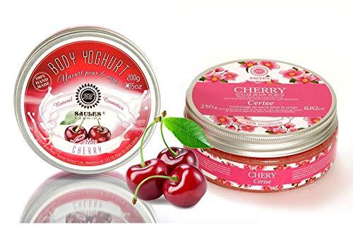 Saules Fabrika Kosmetik Geschenk-Set Körper-Peeling + Creme, (Body-Scrub + BodyYoghurt), mit reichen Ölen, 100% Vegan, Bio, Handmade, mit Zucker (Kirsche) -