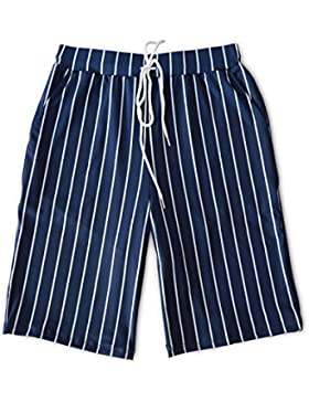 HAIYOUVK Shorts Men'S Five Casual Sports Striped Print Summer Loose Large Size Quick-Drying Men'S Beach,L,Stripe...
