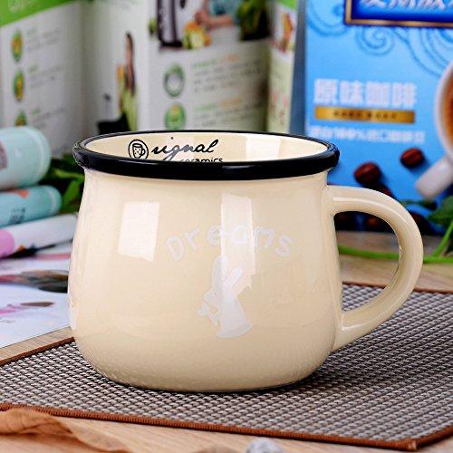 Milchfrühstücksschalen Kaffeetasse Farbglasurbecher Der Retro Keramikschale Dicker Bauch 150Ml Beige