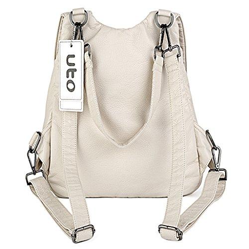 UTO Damen Rücksack Purse PU gewaschen Leder Tassel Reißverschluss Mädchen Rucksack Schultertasche schwarz Cream