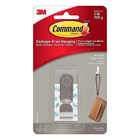 Command MR12-SS-ES Medium Modern Metal Hook with 1 Hook/2 Strips