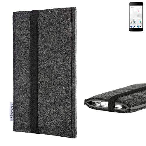 flat.design Handyhülle Lagoa für Thomson Friendly TH101 | Farbe: anthrazit/grau | Smartphone-Tasche aus Filz | Handy Schutzhülle| Handytasche Made in Germany