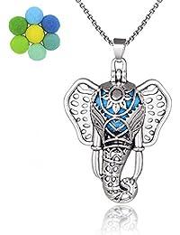 Estilo Boho Plateado de Plata Antigua Elefante Lava Perla Medallón Colgante de Aceite Esencial Collar Difusor de Aromaterapia de Aromaterapia Joyería para Mujer/Hombre