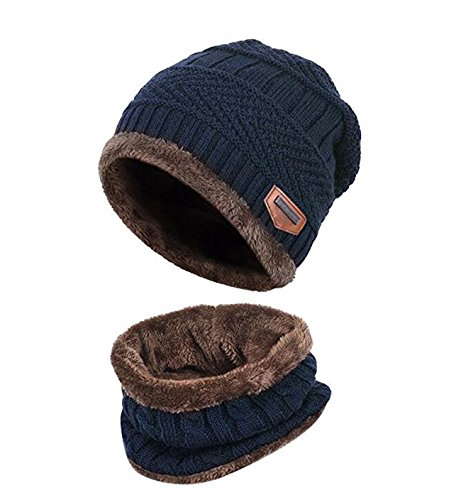Kinder Winter warme Mütze mit Schal Strickmütze weich gefüttert.YR.Lover