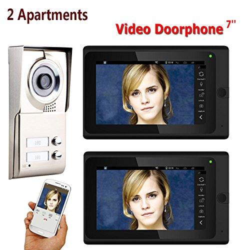 Dayangiii WiFi Video Puerta, 7inch Grabar cableado 2 Apartamentos teléfono Sistema de...