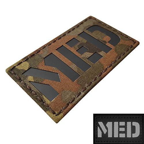 Flecktarn Infrared Med EMS EMT Medic 3.5x2 German Bundeswehr Paramedic Tactical Morale Fastener Patch (Combat Patches Morale)