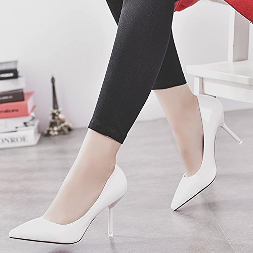 HooH Femmes Stiletto Escarpins Pointed Toe Mariage Demoiselle d'honneur Escarpins Slip On Blanc