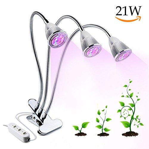 Lámpara LED Plantas, 21W Lámpara de Crecimiento Espectro lámpara Planta de Crecimientocon 360 Grados Ajustable Cuello de Cisne & 3 Interruptores de Control Separados para Interior Plantas de Jardín