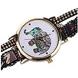 femenino reloj de pulsera - SODIAL(R)femenino moda nacional del viento elefante remache pulsera reloj de pulsera Negro #2