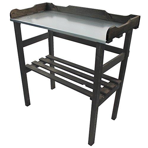 PROHEIM Table de rempotage/Jardinage 82 x 78 x 38 cm en Anthracite - Table de Jardin pour Pots de Fleurs en Bois FSC® impregné et Surface de Travail en métal galvanisé