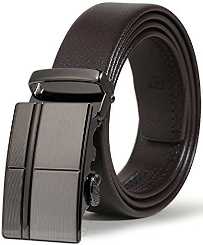 ITIEZY Echtes Leder Gürtel für Männer Ratsche Automatik Gürtelschnalle (Gleitschnalle) 35mm breit, Braun 1, Länge: Bis zu 49,21