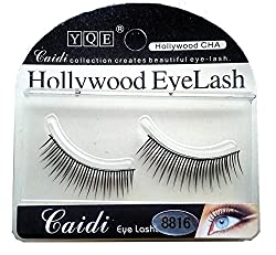 HOLLYWOOD EYELASH 1 Pair Black Natural Thick Long False Eyelashes with Adhesive -8816