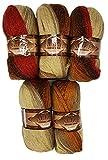 5 x 100 g Alize Glitzerwolle mehrfarbig mit Farbverlauf und Glitzer, 500 Gramm Metallic - Wolle mit 20% Woll-Anteil (bordeaux terra ocker beige 6283)