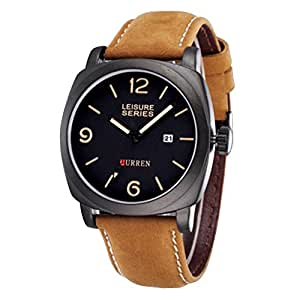 Vktech® Men's Frosted Military Leather Calendar Analog Quartz Sports Watches Black