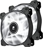 Corsair Air Series SP120 LED High Static Pressure - Pack de 2 ventiladores para caja de ordenador (120 mm, luz LED blanca, alta presión estática) (CO-9050030-WW)