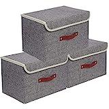 E-MANIS Set de 3 Boîte de Rangement,Caisses de Rangement,Boîte Range pour Vêtement,Jouets,Magazine pour Maison,Bureau,Crèche,