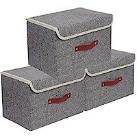 E-MANIS Set de 3 Boîte de Rangement,Caisses de Rangement,Boîte Range pour Vêtement,Jouets,Magazine pour Maison,Bureau…