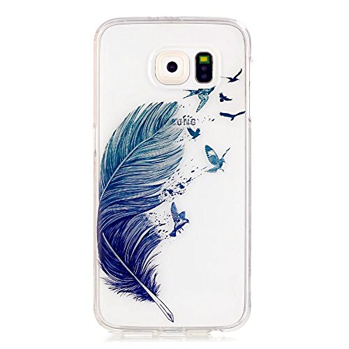 KSHOP Funda Case para Samsung Galaxy S6 Case Cover Carcasa Suave Flexible TPU Silicona gel Forro Delgada Resistente a los Arañazos - pluma