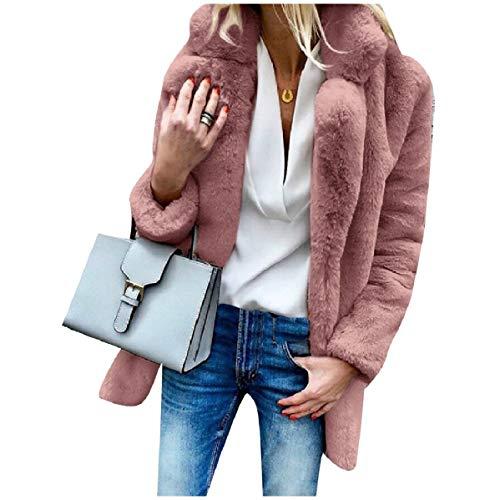 CuteRose Women's Longline Imitation Cardi Luxury Warm Outwear Coat peachpuff XL -