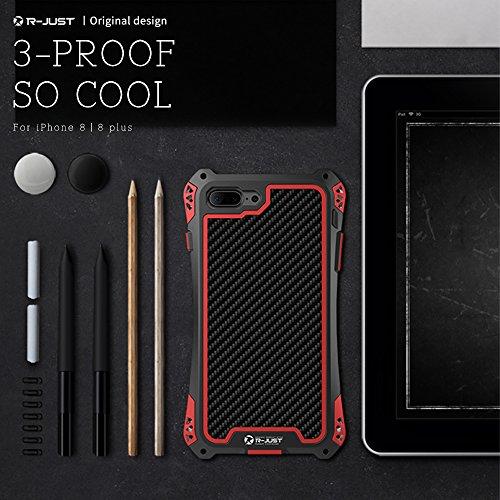 """iphone 8 Plus hülle,R-JUST AMIRA Series Tri-Ptoof Schutzhülle, staubdicht wasserdicht stoßfest, Aluminum Metall Carbon fiber Case Cover Fall für Apple iphone 8 Plus (5,5"""") (iphone 8 Plus, Schwarz+Rot) Tarnung Grün"""