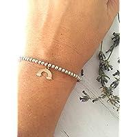 Bracciale con perline in argento 925 e ciondolo arcobaleno in tre colori
