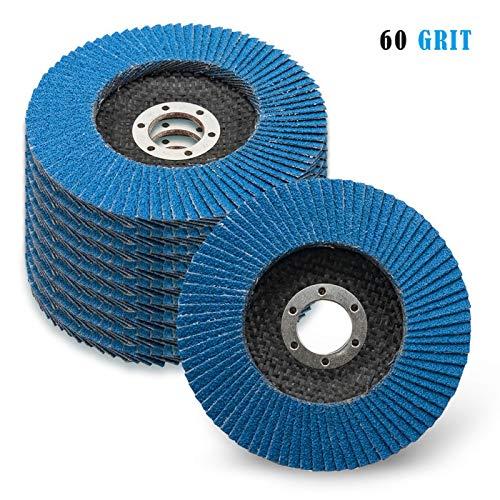 10 Stück Fächerscheiben MASO Fächerscheiben 115 mm Korn 40 60 80 120 Fächerschleifer Schleifmopteller für Winkelschleifer, blau