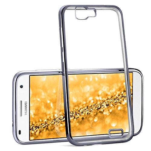 Chrome Case für Huawei Ascend G7 | Transparente Silikon Hülle mit Metallic Effekt | Dünne Handy Schutz Tasche von OneFlow | Back Cover in Anthrazit