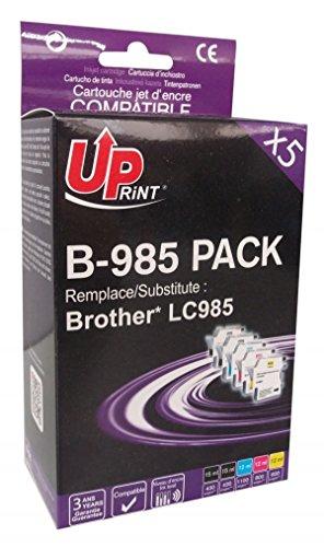 Pack de 5 cartouches compatible BROTHER LC985 - Cyan, Magenta, Jaune, 2 Noir - marque : UPrint B-985 PACK - Imprimantes : DCP J125 / DCP J140 / DCP J315W / DCP J515W / MFC J220 / MFC J265W / MFC J410 / MFC J415W