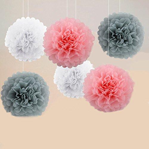 Blumen - Set von 12 Mix Größe Hängende Garlands Papier Pom Poms Dekoration für Hochzeit Geburtstag Party, Bachelorette Party Kit, Baby-Dusche und Heimdekorationen (Rosa+Grau+Weiß) ()