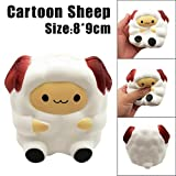 Clearance! Cute Sheep Scented Squishy Toys, HOMEBABY 9cm Cartoon Stress Relief Toys Squishy Jumbo Cream Scented Squishy Slow Rising Squeeze Strap Kids Gift Fun Soft Toy Jumbo Collection Easter Gift (**UK Children**, white)