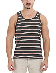 Zobello Mens Contrast Stripe Heather Tank(21191A13_Orange/Grey Stripes_Medium)