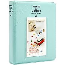 Woodmin 64 Bolsillos Álbum de fotos de Fujifilm Instax Mini 8 8+ 9 70 90 7s 25 50, Snap, Zip, Z2300, Tarjeta bancaria, Tarjeta de visita namecard Book (Azul hielo)
