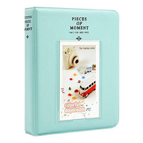 Woodmin 64 Taschen Fotos Album für Instax Mini 70 7s 8 25 50s 90, Polaroid Z2300, Polaroid PIC-300P Film (Eisblau) (Nette Schreibtisch-abdeckung)