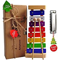 Xylophone - Best Plastic Toy for Holiday/Birthday Gift - Glockenspiel Percussion Musical Instrument with Bright Multi-Colored Bars and Child-Safe Plastic Mallets - Musical Cards and Harmonica Included