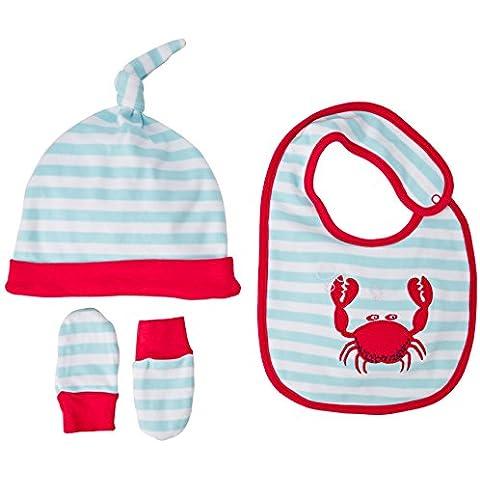 Rockin Baby - Set berretto, guanti e bavaglino per bimbi, multicolore, taglia unica