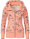 Ragwear Damen Zip-Hoodie Kapuzenjacke Sweatjacke Neska Zip Flowers Apricot Gr. L