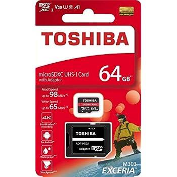 OZJONGK - Tarjeta de Memoria Micro SD Toshiba 64GB 64G EXCERIA M303 con Adaptador SD microSDXC UHS-I U3 Tarjeta 4K Class10 V30 A1 microSD de Lectura ...