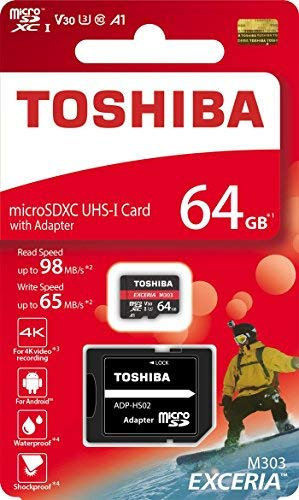 Toshiba 64GB MicroSDXC UHS-I U3 A1 V30 Class 10 Memory Card with Adapter for Gopro Action Cameras, Drones & Smartphones - Read Speed up to 98 MB/s