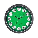 """CafePress–Poker Time verde reloj de pared de fieltro, único decorativo 10""""reloj de pared"""