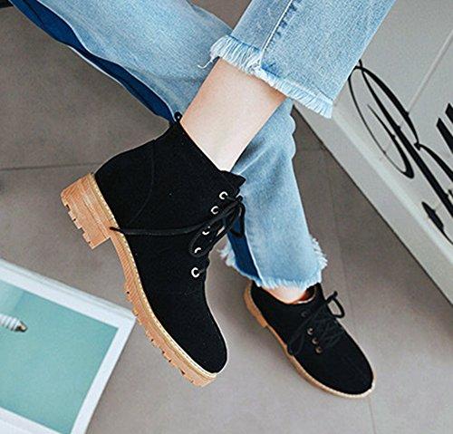 Aisun Femme Mode Bout Rond à Lacets Talon Bloc Bottines Désert Boots Noir