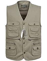 Zicac Gilet veste sans manches en coton multipoches pour Camping Chasse Pêche Photographie Homme