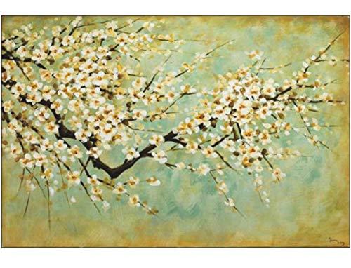 KunstLoft® Acryl Gemälde \'Kirschblüten\' 120x80cm | original handgemalte Leinwand Bilder XXL | Weiße Kirschblüte auf Grün Mint Grün | Wandbild Acrylbild Moderne Kunst einteilig mit Rahmen