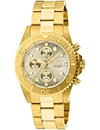 Invicta Pro Diver Unisex Chronograph Quartz Watch with Stainless Steel Gold Plated Bracelet – 1774
