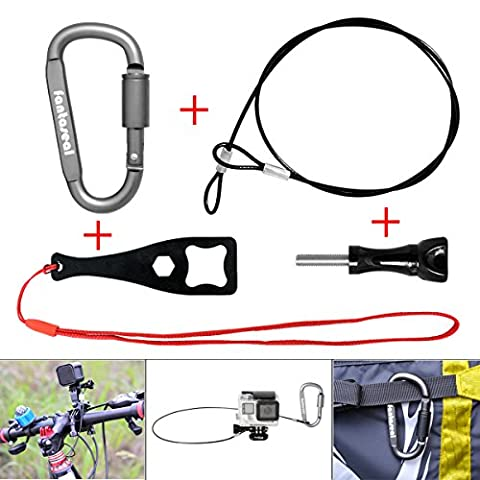 Fantaseal® 4-in-1 Stainless Steel Safety Rope Kit Plastic Coated Stainless Steel Rope Lanyard GoPro Safety Tether Rope for GoPro Safety Tether Cable for GoPro Cord Wire for GoPro + Carabiner + Screw + Wrench for GoPro Hero 5 / 4 / 3 / 3+ / Session + SJCAM + Garmin Virb XE + Xiaomi Yi+SonY + More (Rope len: 60 cm)