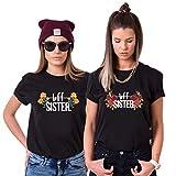 Best Friends T-Shirts für 2 Mädchen BFF Sister Shirts für Zwei Damen Freunde Tshirts Pärchen Freundin Geschenke (Schwarz, S + XS)
