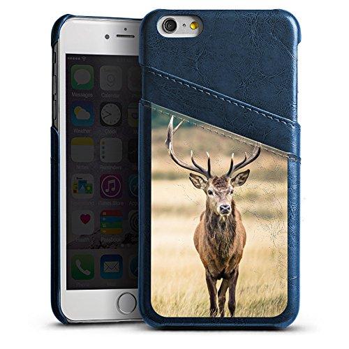 Apple iPhone SE Lederhülle Leder Case Leder Handyhülle Hirsch Wald Tier Leder Case Navyblau