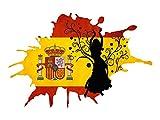 Wandsticker Sticker Wandaufkleber für Wohnzimmer Spanien Flagge Flamenco Frau (87x57cm)