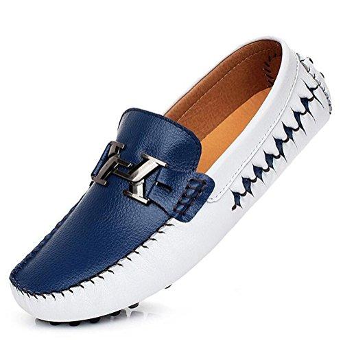 XJB 2018 Neue Herren Leder Casual Loafers Mokassins Slip on Driving Schuhe Bootsschuhe Weiß Blau, Schwarz, Golden (Farbe : Ein, Größe : 38) (Leder-leichte Loafer)